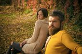 Autumn Happy Couple Of Girl And Man Outdoor. Couple In Love In Autumn Park At Bench. Love Relationsh poster