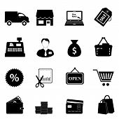 stock photo of delivery-truck  - Shopping icon set in black on white background - JPG