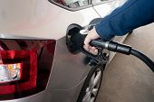 Closeup Of Man Pumping Diesel Fuel For Diesel Engines In Car At Gas Station. poster