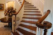 stock photo of bannister  - A classic staircase in a luxury home - JPG