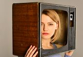 Journalism. Journalism On Television. Woman Make Journalism Report News On Tv. Journalism And Mass M poster