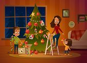 Happy Family Mom And Two Children Dresses Up Christmas Tree. The Boy Unwinds The Garland. Family In  poster