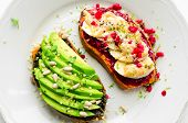 Healthy Sandwich On Sweet Potato For Breakfast Or Snack. One Toasts With Avocado And Other With Rasp poster