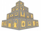 Cubes With Symbols Of Household Electronic Equipment. Cubes Stacked Pyramid With Gold Symbols Of Con poster