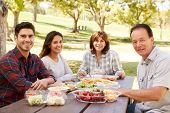 Adult couple and parents having a picnic smile to camera poster