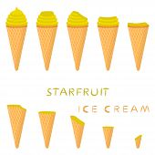 Vector Illustration For Natural Carambola Ice Cream On Waffle Cone. Ice Cream Pattern Consisting Of  poster