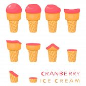 Vector Illustration For Natural Cranberry Ice Cream On Waffle Cone. Ice Cream Pattern Consisting Of  poster