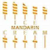 Vector Illustration Logo For Natural Mandarin Ice Cream On Stick. Ice Cream Pattern Consisting Of Sw poster