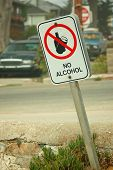 foto of sobriety  - a no alcohol sign as you leave the beach - JPG