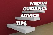Tips Advice Guidance Wisdom Knowledge Steps Stages 3d Illustration poster
