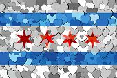 Chicago Made Of Hearts Background - Illustration,  Flag Of Chicago With Hearts Background poster