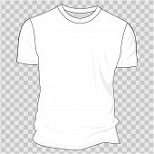 White Blank T-shirt Clothing Design. New Sport Unisex Textile Form With U-neck Collar For Man And Wo poster