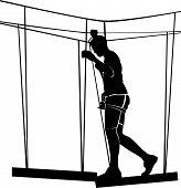 Boy In Adventure Park Rope Ladder. Silhouette Adventure poster