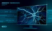 Human Neuron Low Poly Anatomy Concept. Artificial Neural Network Technology Smart House Display Clou poster