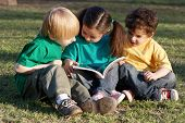 stock photo of children group  - Group of children with the book on a grass in park - JPG