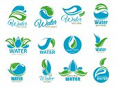 Natural Water Symbols With Clean Aqua Drops And Bio Green Leaves. Eco Nature Resource Isolated Vecto poster