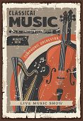 Classical Music Live Show Or Concert Vintage Poster With Musical Instruments. Symphonic Orchestra Ce poster