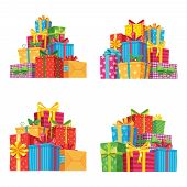 Christmas Presents In Gift Boxes. Birthday Present Box, Xmas Gifts Pile Isolated Vector Illustration poster