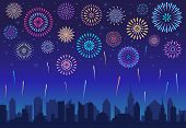 Night City Fireworks. Holiday Celebration Firework, Celebrated Festive Firecracker Over Town Silhoue poster