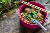Thai Cellophane Noodle Soup With Meatball. It Is Called kuay Tiew Ruay Or Boat Noodle poster