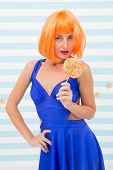 Birthday Party With Crazy Girl. Crazy Girl Holding Sweet Lollipop At Colorful Birthday Party. Girl W poster