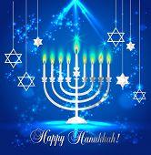 Happy Hanukkah Shining Background With Menorah, David Star And Bokeh Effect. Vector Illustration On  poster