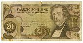 stock photo of shilling  - 20 shilling bill of Austria brown pattern - JPG