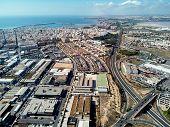 Aerial View Torrevieja Townscape. Blue Mediterranean Sea And Las Salinas Salt Lake. Panorama Highway poster