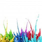 Colorful paint splash creative background. Color paint mix splattered. 3D rendering. poster