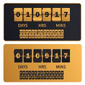 Luxury Golden Countdown Clock Digits Board New Year, Christmas Or Shopping Sale Timer. Rich Gold Num poster