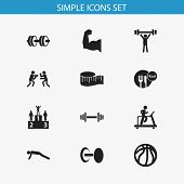 Set Of 12 Editable Training Icons. Includes Symbols Such As Weightlifting, Measure Tape, Podium And  poster