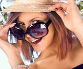 picture of summer fun  - pretty woman with  hat and sunglasses in summer time - JPG