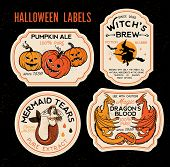 Halloween Bottle Labels Potion Labels. Vector Illustration. poster