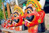 pic of kali  - Wood  portrait of Kali in Pondicherry  - JPG