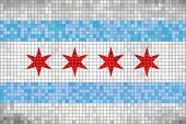 Abstract Mosaic Flag Of Chicago - Illustration,  Chicago Grunge Mosaic Flag poster