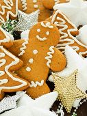 stock photo of gingerbread man  - Traditional gingerbread cookies with christmas ornaments - JPG