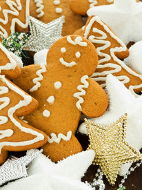 pic of gingerbread man  - Traditional gingerbread cookies with christmas ornaments - JPG