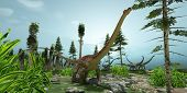foto of behemoth  - A herd of Diplodocus dinosaurs munch their way along their migration route - JPG