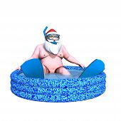stock photo of kiddie  - Santa Snorkeling - JPG