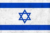 picture of frazzled  - Grunge Dirty and Weathered Israeli Flag Old Metal Textured - JPG