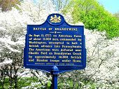 stock photo of revolutionary war  - Historical marker indicating the Revolutionary War: