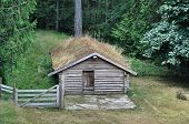 pic of log fence  - Old rustic log cabin with a grass roof and a wooden fence - JPG