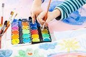 stock photo of finger-painting  - Detail of child - JPG