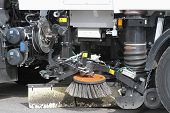 stock photo of sweeper  - Mechanical street sweeper and vacuum cleaning machine - JPG