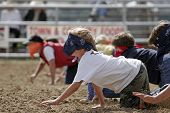 stock photo of overcoming obstacles  - blindfolded children have fun participating in a charity  - JPG