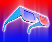 stock photo of matinee  - 3d glasses on background red and blue - JPG
