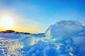 stock photo of arctic landscape  - Ice and sun in Greenland in spring time - JPG