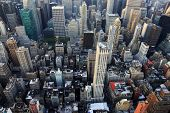 foto of empire state building  - New York City Manhattan skyline aerial view with Empire State and skyscrapers - JPG
