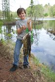 Young Fisherman Proudly Holds Up Stringer Of Walleyes