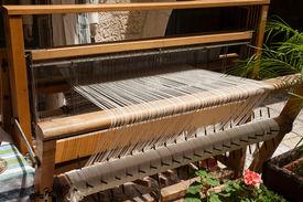 stock photo of handloom  - Hand loom in front view  - JPG